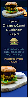 An easy burger recipe that can be made in a power blender or food processor. From blender to table in 15 minutes and all made with fresh tasty ingredients. Cook from fresh or freeze for another day.These burgers are suitable for a vegetarian, vegan or dairy free diet.