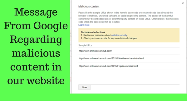 Message from Google Regarding malicious content in our website