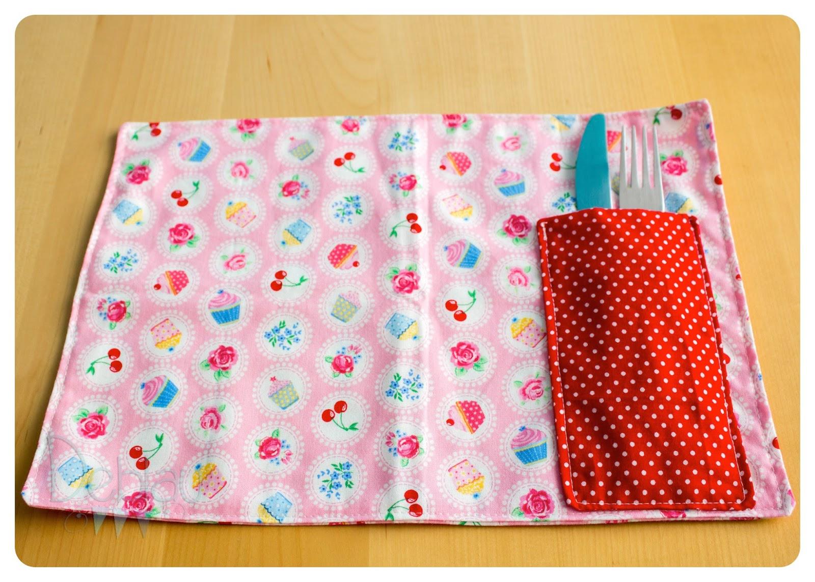 Deblau costura manteles individuales con bolsillo for Manteles individuales de tela