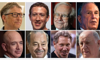 Bill Gates, Mark Zuckerberg, Warren Buffett, Michael Bloomberg, Jeff Bezos, Carlos Slim, Larry Ellison, Amancio Ortega Skynews