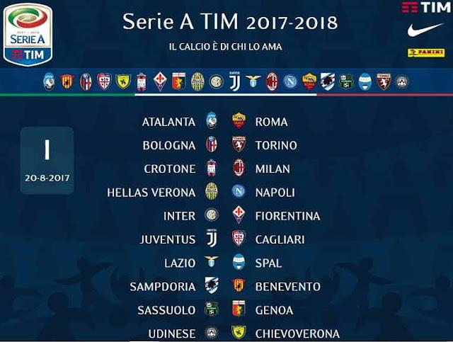 Jadwal Lengkap Liga Serie A Italia 2017-2018