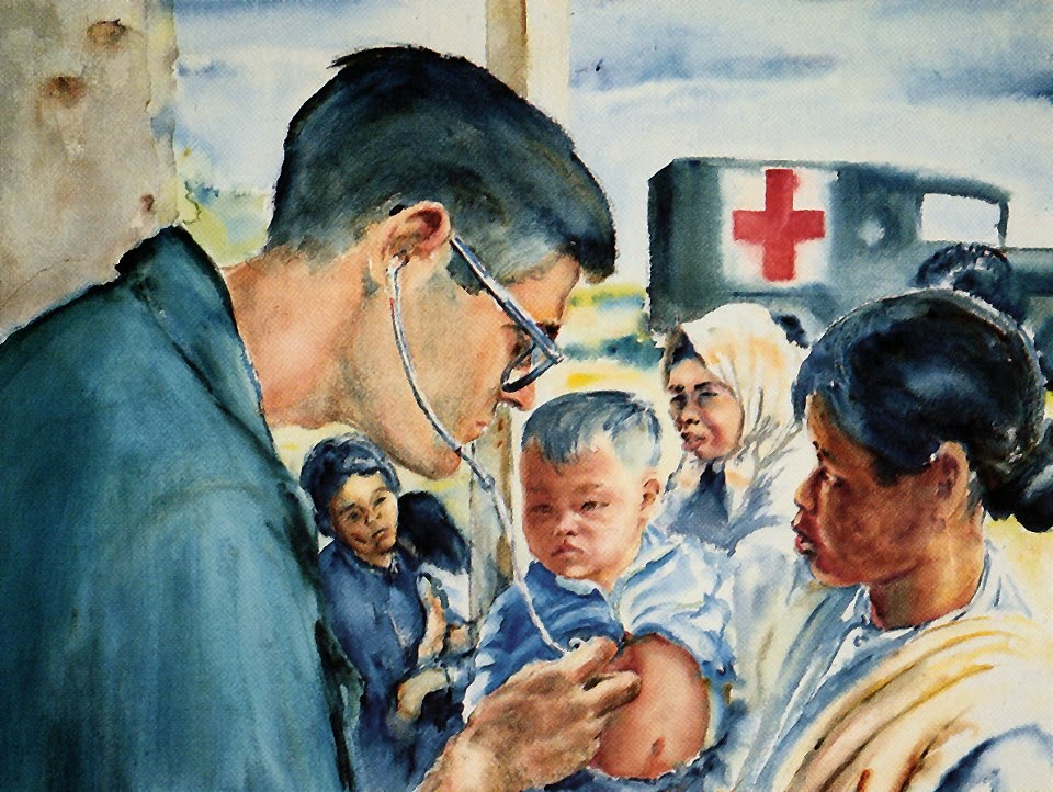 American Doctor Examines Vietnamese Child, Vietnam 1967 by Samuel E Alexander