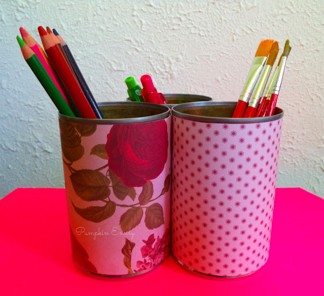 DIY Tin Can Stacked Organizer