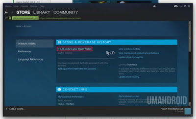 Account details steam aplikasi