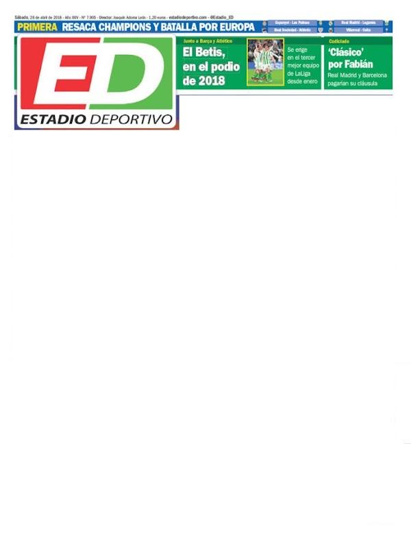 """Betis, Estadio Deportivo: """"El Betis, en el podio 2018"""""""