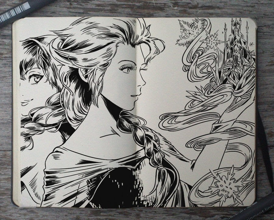 03-Frozen-Elsa-and-Anna-Gabriel-Picolo-Disney-Fantasy-Ink-Drawings-in-Moleskine-Illustrations-www-designstack-co