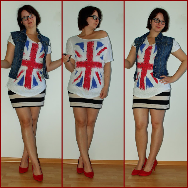 [Fashion] Great Britain Love Flag Shirt & Stripes Skirt  Englandliebe Flaggenshirt und Streifenrock  Mustermix