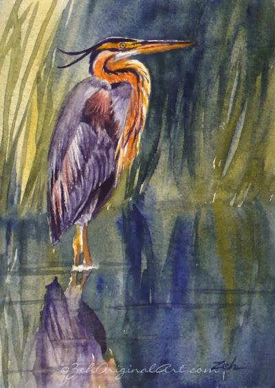 A purple heron in a marsh - original painting