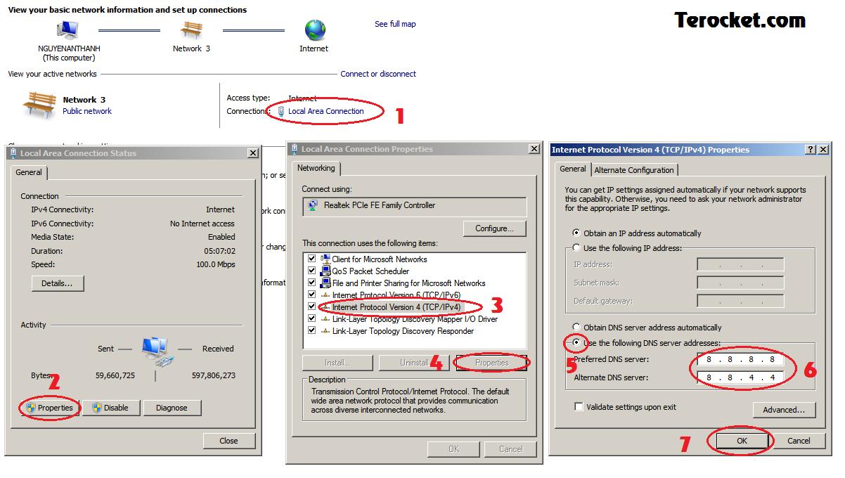 Cách đổi DNS với Windows 7