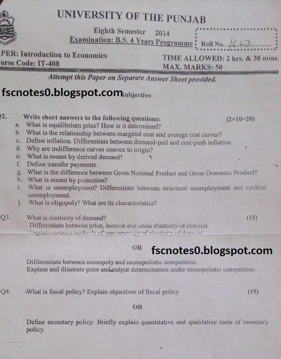 BS (Hons) IT Information Technology Past Papers Semester 8 Introduction to Economics 2014 Asad Hussain