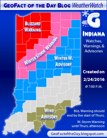 Indiana county map showing February 24, 2016's blizzard warning, winter storm warning, winter weather advisory, and wind advisory