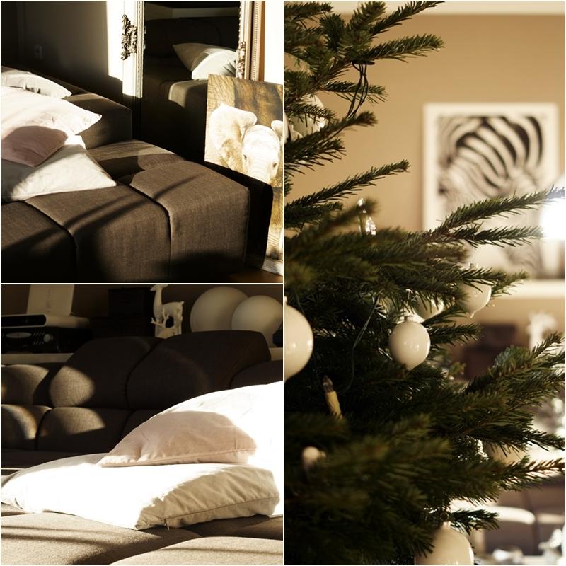 Blog + Fotografie by it's me! - Rooming, Weihnachtsdeko 2015 - Collage Weihnachtsbaum und Sofa im Sonnenschein