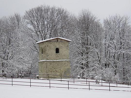 Przycerkiewna dzwonnica w Polanach Surowicznych.