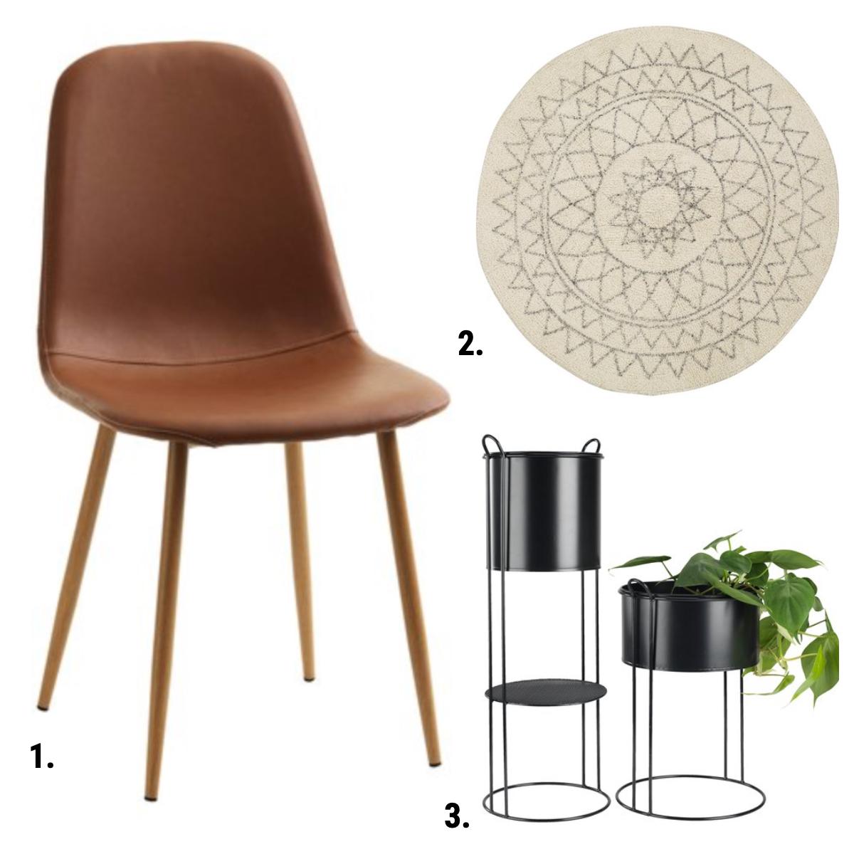 jysk virum musta sivupöytä - jonstrup tuoli ruskea nahka