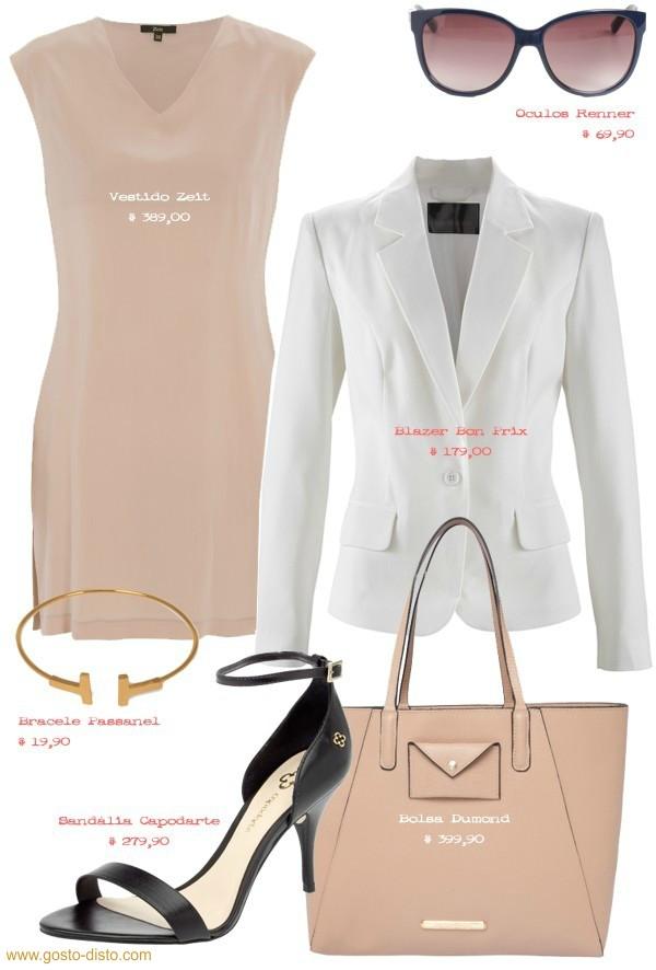 Vestido bege com blazer branco