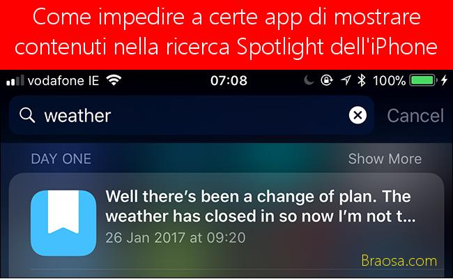 Come impedire a determinate app di mostrare contenuti nella ricerca Spotlight sul tuo iPhone