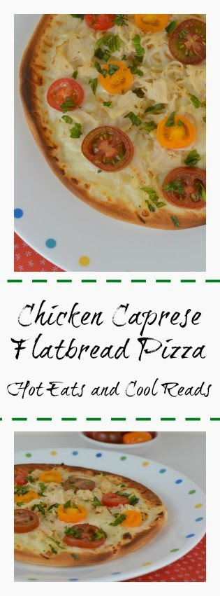 Simple and easy recipe that's so full of flavor! Great for lunch or dinner! Chicken Caprese Flatbread Pizza from Hot Eats and Cool Reads
