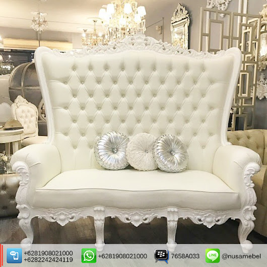 Luxury Furniture From Indonesia: White Wedding Sofa 3 Seater Dominique