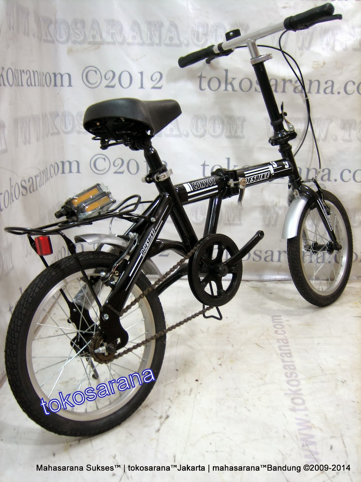16 Inch DoesBike 1601 Convoy Folding Bike with Carrier 3