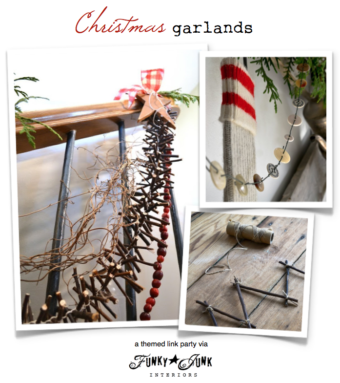 Christmas garlands, a themed linkup via Funky Junk Interiors