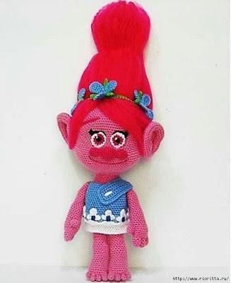 Вязаная кукла тролль Поппи крючком