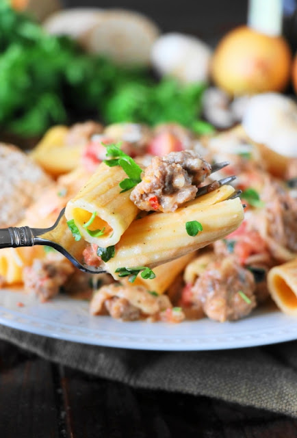 Pasta in Creamy Sausage Sauce ~ Whip up a pot quick & easy, then dig in to a plate of pasta deliciousness!  www.thekitchenismyplayground.com