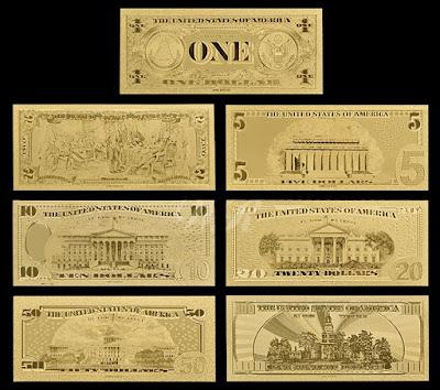 Bộ tiền Usd mạ vàng