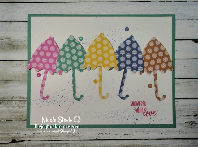 In Colors Stampin' Up! Umbrella Builder Punch Under My Umbrella Easy Card Card in under 10 minutes nicole steele the joyful stamper independent stampin' up! demonstrator