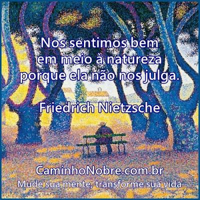Nos sentimos bem em meio à natureza porque ela não nos julga. Friedrich Nietzsche