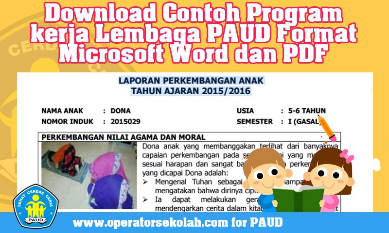 Download Contoh Raport PAUD Dan Panduan Penulisan Laporan Semester PAUD