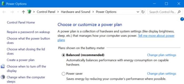 الفرق-بين-Balanced-Power Saver-High-Performance-اعدادات-البطارية