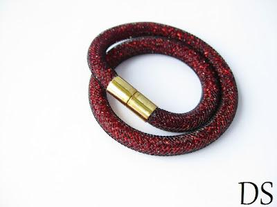 Bransoletka podwójna siatka jubilerska czerwono-czarna