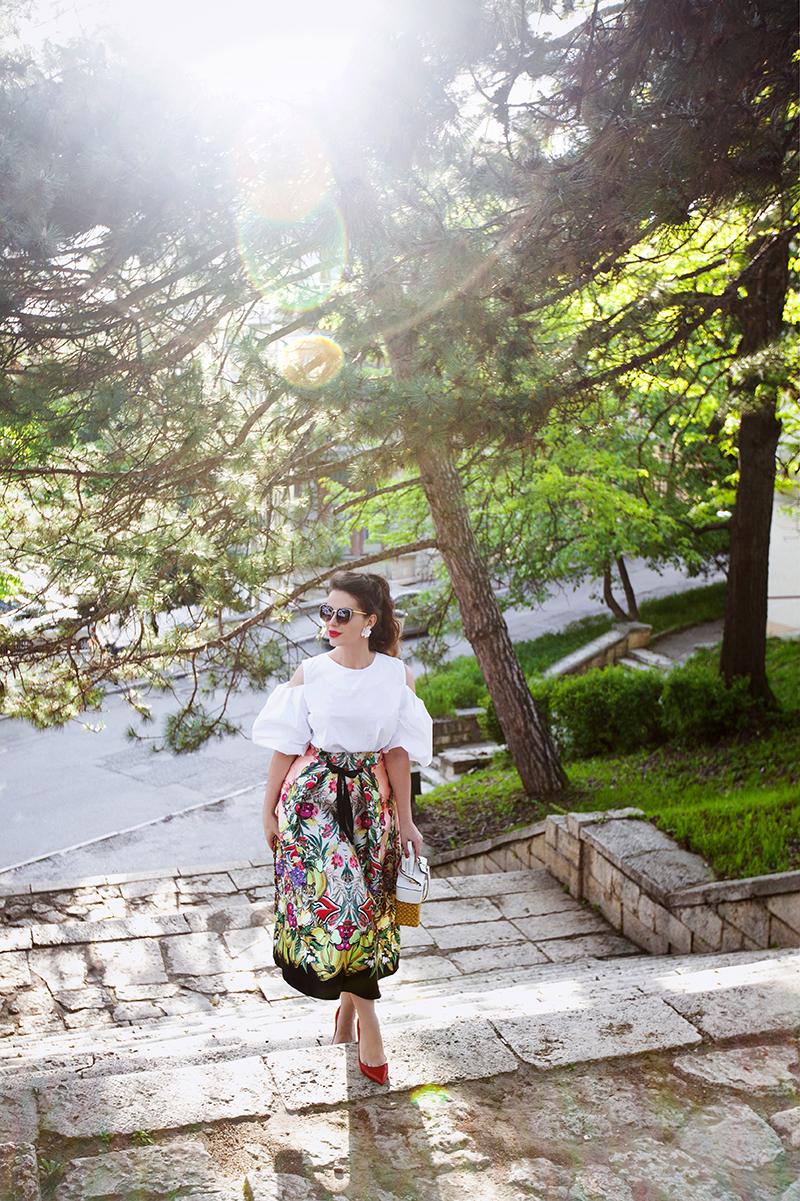 ASOS High Waisted Midi Prom Skirt in Fruit Print