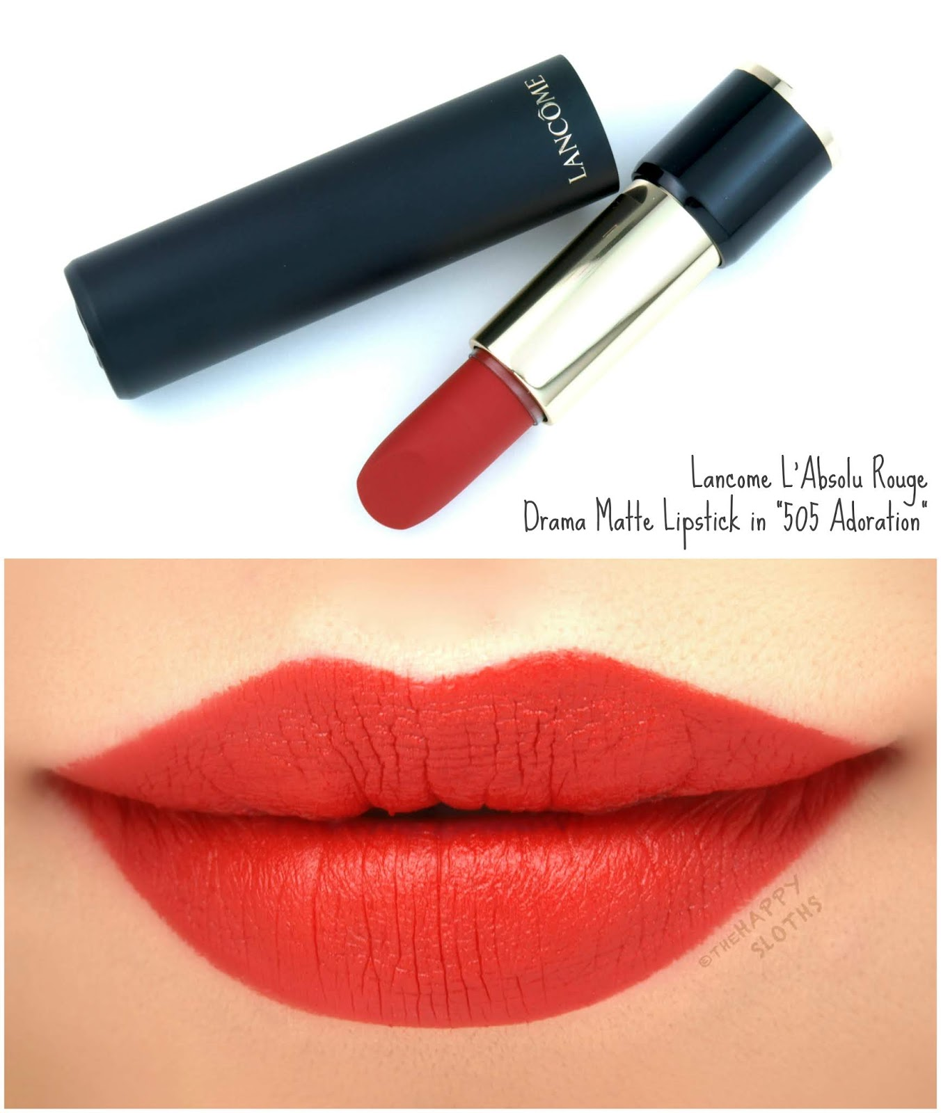 "Lancome | L'Absolu Rouge Drama Matte Lipstick in ""505 Adoration"": Review and Swatches"