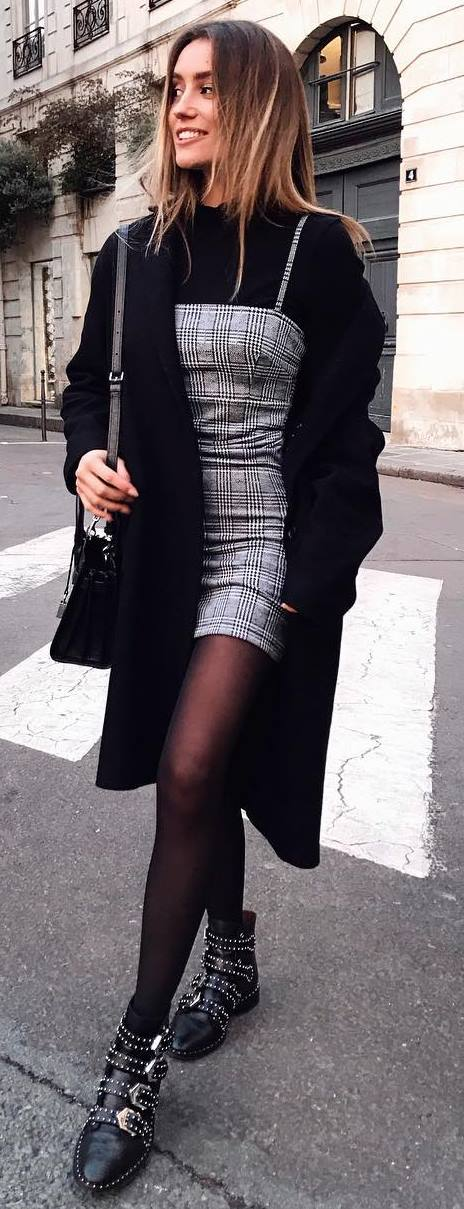 winter fashion trends / black coat + bag + top + plaid dress + grunge boots
