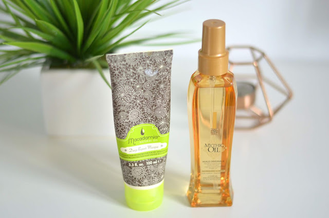 macadamia deep repair masque and loreal mythic oil haircare