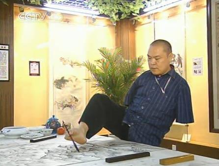 Chinese Artist Huang Guofu Paints With Mouth And Feet
