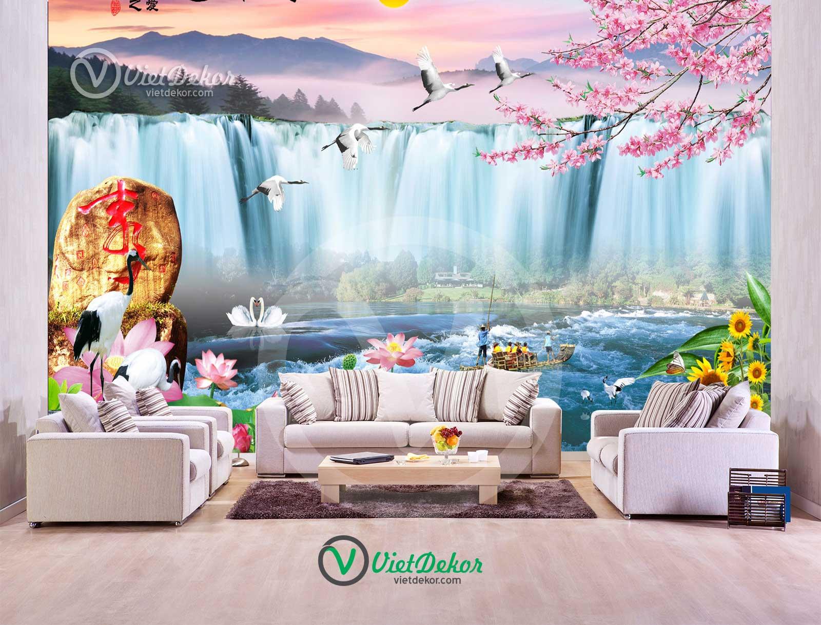 Tranh 3d phong cảnh thác nước hoa sen hoa ngọc lan