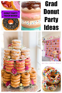 Everyone loves donuts, so you'll have lots of guests come to your graduation party when you enjoy a doughnut bar or doughnut wall as party of your party decorations and desserts.