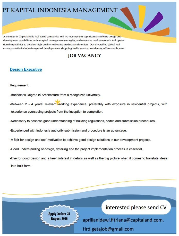 Lowongan Kerja PT. Kapital Indonesia Management Agustus 2016