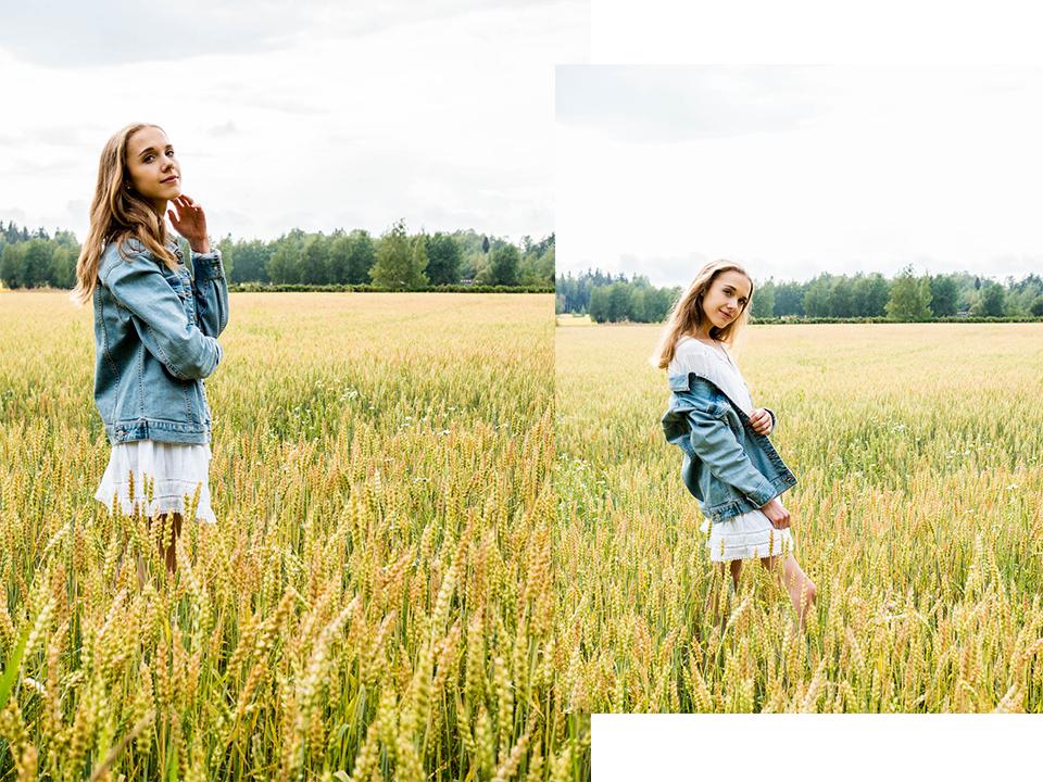kesä-valokuvaus-heinäpelto-muotiblogi-kesämekko-farkkutakki-tyttö