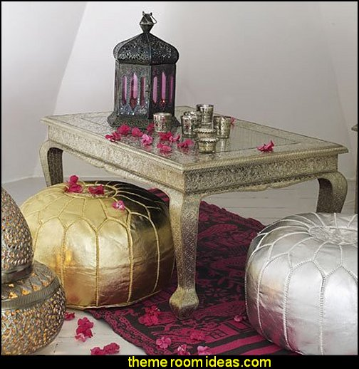 Gold Moroccan Pouf Ottoman Footstool  Moroccan decorating ideas - Moroccan decor - Moroccan furniture - decorating Moroccan style - Moroccan themed bedroom decorating ideas - Exotic theme decorating - Sultans Palace - harem style bedrooms  Arabian nights Moroccan bedroom furniture - moroccan wall decoration ideas