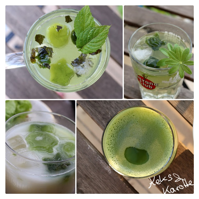 Matcha kalt on the rocks limo zitrone holunder waldmeister
