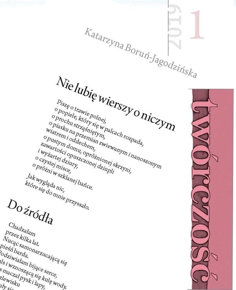 Katarzyna Boruń Jagodzińska Nowe 4 Wiersze W Styczniowym