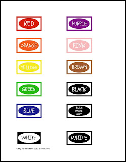 Crayon organization color labels printable my joy for Crayon labels template