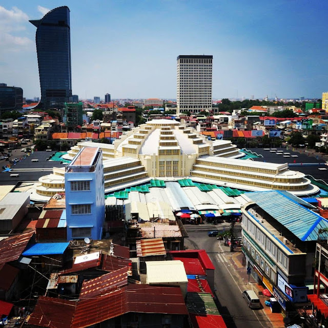 Central Market in Phnom Penh Cambodia viewed from Sorya Mall