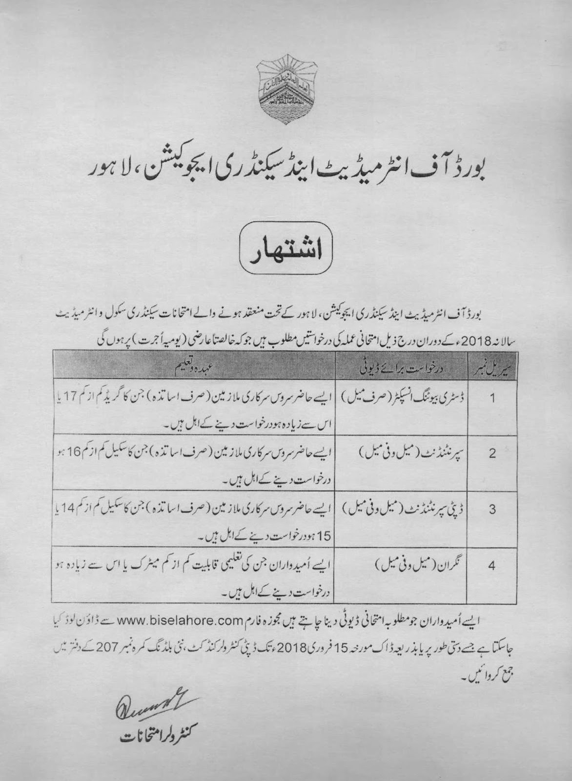 Jobs In Board Of Intermediate And Secondary Education (BISE Jobs) February 2018