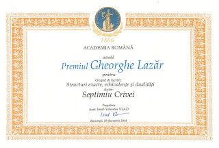 Septimiu Crivei - Premiul Gheorghe Lazăr al Academiei Române