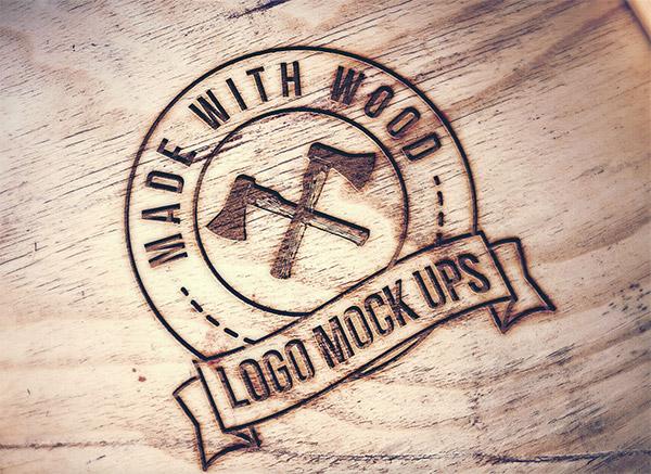 Download Logo Mockup PSD Terbaru Gratis - Engraved Wood Logo Mockup
