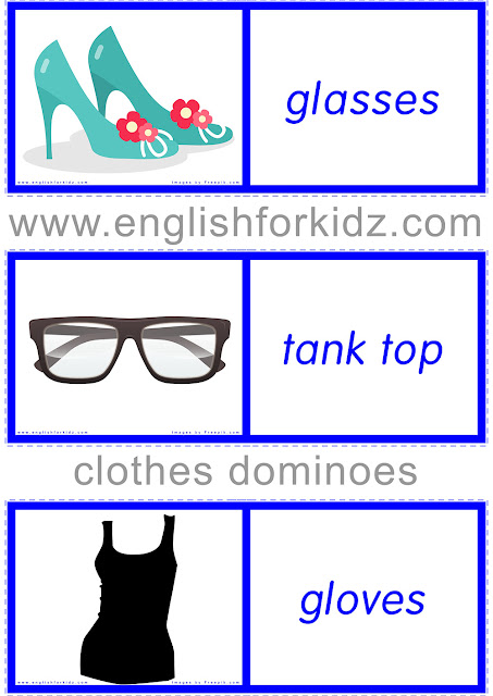 Printable clothes domino worksheet